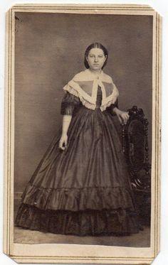 Low body with sheer pelerine.  By J.W. Gould, Photographer, Carrollton, Ohio. civil war era fashion
