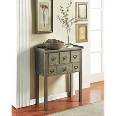 @Overstock - Constructed of solid wood with a distressed grey  finish, this accent table is a great way to add storage and style to any room. This 6-drawer accent table is perfect for entry ways, hallways or the home office.http://www.overstock.com/Home-Garden/Altra-Six-Drawer-Accent-Console-Table/7516448/product.html?CID=214117 $104.99