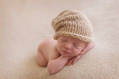 New style slouch hipster hat for lovely newborn photos! Knitted with soft baby mohair blend yarn, in caramel(shown in the last photo).    This hat is