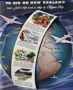 To Rio or New Zealand, now just a hop and a skip by Clipper Skip. Travel Ads, Airline Travel, Travel Brochure, Travel And Tourism, Air Travel, Vintage Airline, Vintage Travel Posters, Poster Vintage, San Juan Port