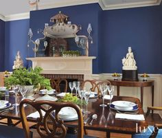 Traditional Blue Dining Room With Wainscoting | LuxeSource | Luxe Magazine - The Luxury Home Redefined
