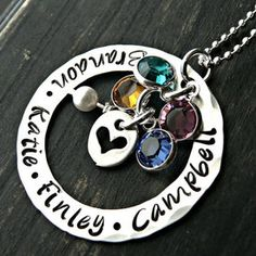 This beautiful rustic Personalized Mothers Necklace With Birthstones is custom made and created from scratch by hand. Each tiny letter is separately hand stamped with a hammer, oxidized and finished. A truly unique gift idea! $83.00 http://www.wholesouljewelry.com/personalized-mothers-necklace-with-birthstones-athena/