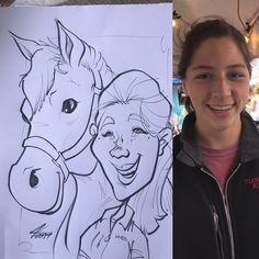 #drawn with her Horse #newtorkstatefair #characteradaychallenge #livecaricature
