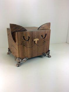 Reclaimed Wood Box  Cat recipe card holder