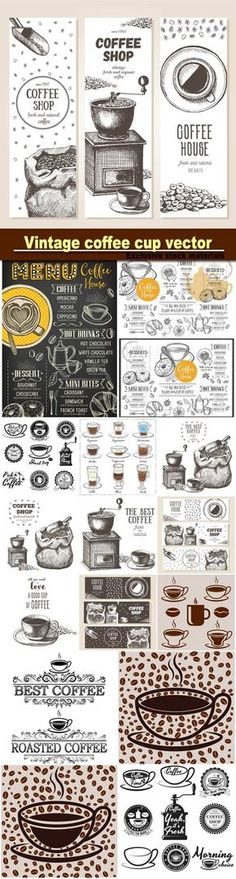 Vintage coffee cup vector coffee restaurant cafe menu template design