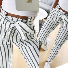 Buy 2018 fashion autumn women casual mid waist pants white striped bow tie  drawstring sweet elastic 0db8bf230c