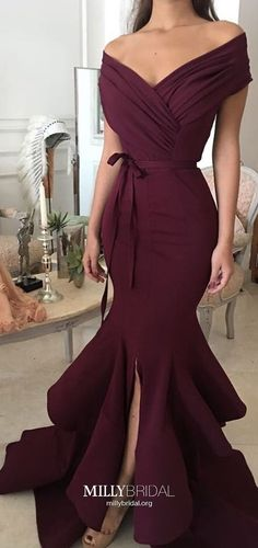 Long Prom Dresses Mermaid,Burgundy Prom Dresses Off-the-shoulder,Silk-like Satin Prom Dresses with Cap Sleeves,Elegant Prom Dresses For Teens
