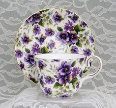 Purple Cup And Saucer