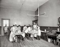 New York circa 1900. Operating room, Brooklyn Navy Yard Hospital.
