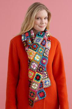 Little Grannies Scarf - Free Crochet Pattern With Website Registration - (lionbrand)