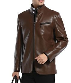 Brown black business stand collar PU leather jacket high quality casual mens faux leather jackets and coats coat big size 4XL