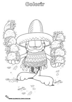 garfield with tacos coloring page maybe for cinco de mayo