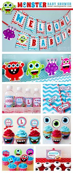 Baby Shower Monster Bash Red Blue by OwliePowlie