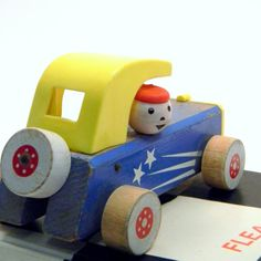 Toy Sports Car, Vintage 1950s Fisher Price Wood & Plastic Decor