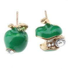 Green apple studs with bite detail