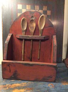 primitive bowl rack with spoons #NaivePrimitive