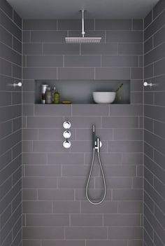 Ideas For Bathroom Remodel Grey And White Shower Niche Bathroom Inspiration, Bathroom Interior, Small Bathroom, Grey Bathroom Tiles, Laundry In Bathroom, Bathroom Decor, Bathroom Design, Shower Room, Bathroom Shower Tile