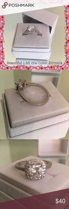 1.95 CTW Cubic Zirconia Silver Ring (size 5) NIB Absolutely gorgeous 1.95 ctw cubic zirconium silver P ring. Sparkles on every turn and is brand-new in retail box! Whoever receives this ring is going to love it! Size 6. Feminine and simple yet elegant enough to give as a gift! A perfect mix. Also his final on Poshmark so please view the pictures closely by pinching open and close and ask any questions if needed. U COUTURE Jewelry Rings