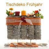 Tischdeko Frühjahr selber machen mit Frischblumen oder Kunstblumen. In toller Rebenvase sehr modern & floristisch