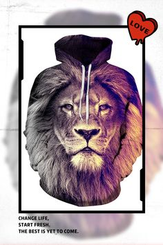 a0ab73e97 $28.70 Long Sleeve Lion Face Gradient Color Pattern 3D Painted Hoodie  Hoodies, Sweatshirts, Dress