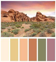 Color board :: mojave desert and vegas inspired color palett. Earth Colour Palette, Earth Tone Colors, Colour Pallette, Colour Schemes, Earth Tones, Colour Trends, Spa Colors, Desert Colors, Design Graphique