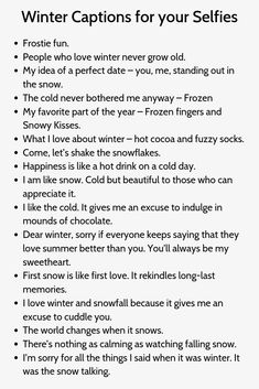 Winter Captions for your Selfies - DawnFOX Winter Instagram Captions, Instagram Picture Quotes, Instagram Captions For Selfies, Selfie Captions, Instagram Funny, Photo Quotes, Good Bios For Instagram, Badass Captions, Captions Sassy