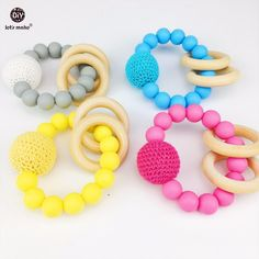 Let's Make Baby Accessories 4pc Big Crochet Beads Silicone Chewing DIY Crafts Teething Jewelry Nursing Play Gym Toys #Affiliate