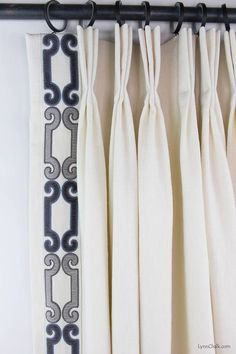 Custom Drapes by Lynn Chalk in Trend 01838 Glacier with Zimmer Rohde Velvet Scroll Trim in Navy Gray 2860012598 Drapes And Blinds, Drapery Panels, Drapes Curtains, Burlap Curtains, Blue Drapes, Mini Blinds, Wood Blinds, Valances, Curtain Trim