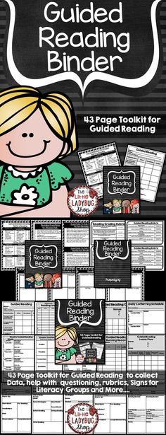Guided Reading Binder | Guided Reading Binder | Guided Reading  This Guided Reading Binder is a 43 Page Toolkit for Guided Reading to collect Data, help with guided reading questioning, guided reading rubrics, Signs for Literacy Groups and More.