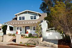 light green grey w/ white craftsman home