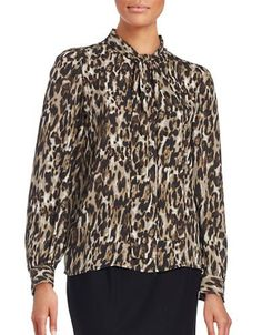 Context Printed Tie-Front Blouse Women's Espresso Large