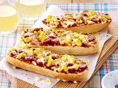 Belegte Baguettes - knuspriges Stangenbrot deluxe - kasee-baguette-salami-mais  Rezept