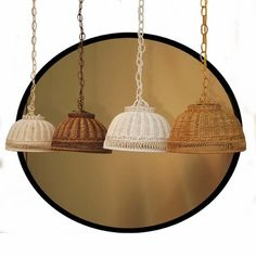 "14"" Hanging Rattan Wicker Lamp"