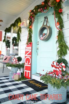 Holiday Home Tour Candy Cane Porch