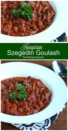 A recipe for authentic Szegedin Goulash. Slow-simmered pork, onions and sauerkraut in an incredibly flavorful paprika-infused broth. Pork Goulash, Goulash Recipes, Pork Recipes, Cooking Recipes, Cooking Pork, Veggie Recipes, Crockpot Recipes, Cooking Tips, Bratwurst