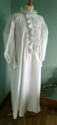 Viktorianisches Nachthemd langen reiner weißer Baumwolle mit