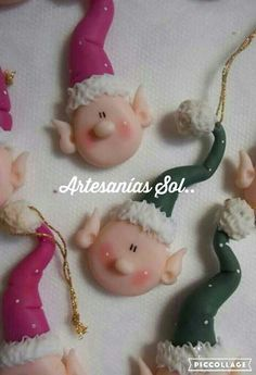 Elf Tutorial - Even though this is a tutorial using cold po Christmas Craft Fair, Polymer Clay Christmas, Christmas Cards To Make, Christmas Toys, Holiday Crafts, Christmas Decorations, Christmas Ornaments, Polymer Clay Ornaments, Polymer Clay Sculptures