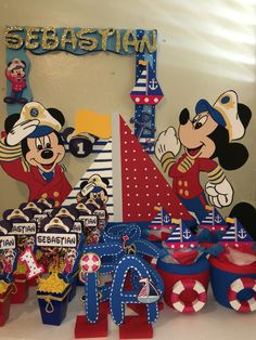 Mickey Mouse sailor captain nautical photobooth frame character ice cooler holder centerpiece name letters birthday decorations Fiesta Mickey Mouse, Mickey Mouse Parties, Baby Mickey, Mickey Party, Mickey Mouse Birthday, Minnie, Disney Mickey, Anchor Birthday, 1st Birthday Themes