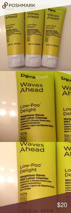 3 new DEVACURL waves ahead weightless cleanser 3 NEW and NEVER USED devacurl waves ahead low-poo delight.. Weightless waves mild lather cleanser 1.5 fluid ounces/55 ml. Deluxe travel size. I love this product!   No trades! Sephora Accessories