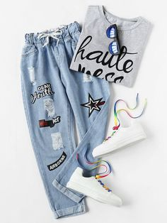 Denim pants fashion - Shop Ripped Cuffed Offset Printing Jeans online SheIn offers Ripped Cuffed Offset Printing Jeans & more to fit your fashionable needs Girls Fashion Clothes, Teen Fashion Outfits, Jean Outfits, Girl Outfits, Jeans Fashion, Tween Fashion, Fashion Black, Fashion Fashion, Fashion Ideas