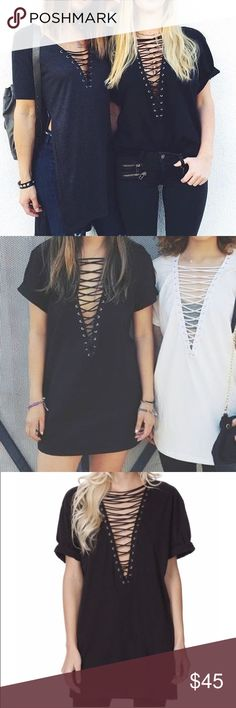 LF Lace Up Tee Dress Long enough to wear as a dress as well. NWOT. XS but can fit a small and even medium LF Tops Tunics