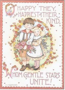 O-HAPPY-THEY, THE HAPPIEST OF THEIR KIND, WHOM GENTLE STARS UNITE! HANDCRAFTED-FRIDGE-MAGNET-UTILIZING-ART-BY-MARY-ENGELBREIT