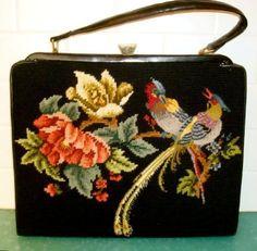 Vintage needlepoint Birds of Paradise handbag