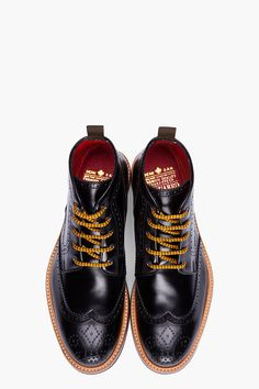 Dsquared2 Black Bowles Brogue Boots. OOOOH I want these. #handsome #beards #lifestyle