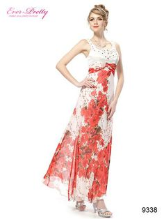 Shining Rhinestone Floral Printed Evening Dresses