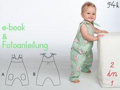 """Schnittmuster Baby Overall """"Lotte"""" in 2 Varianten von pattern4kids - Schnittmuster für Baby- und Kinderkleider als ebook download oder Papierschnitt mit Nähanleitung auf DaWanda.com"""