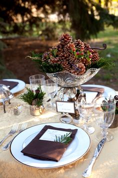 Elegant meets rustic for a winter wedding. I want to do this for Christmas!