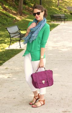 *scarf + green cardi + white jeans + purple bag +  brown wedge sandal
