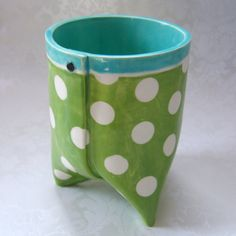 office decor : pencil cup pen holder  ceramic vessel by maryjudy
