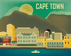 Everyone should experience Africa. Cape Town, South Africa Skyline Horizontal print, Travel Destination Wall Art Gift for Home, Office, Nursery - style Skyline Art, Cape Town South Africa, Vintage Travel Posters, Africa Travel, Travel Destinations, Wall Art, City, Office Spaces, Small Spaces